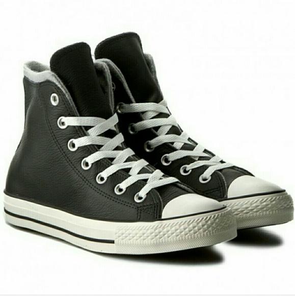 10ab0a92b24 Converse Leather High Tops Chucks Black 10.5